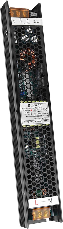 VARICART IP20 24V 8.3A 200W Controlador LED Regulable, Fuente de Alimentación Conmutada CA CC Regulada, Transformador de Salida Voltaje Constante, Apoyo TRIAC 2 en 1 y control de Atenuación de 0-10V