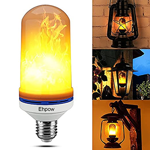 Ehpow LED Flame Effect Light Bulb E27 Flicker Flame Lights Simulated  Vintage Decoration Lamps For Home