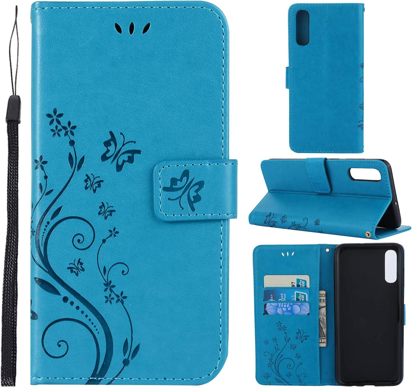 CMID Funda Samsung Galaxy A70, PU Cuero Libro Billetera Tapa Antigolpes Protective [Función de Soporte] Cartera Carcasa Case para Samsung Galaxy A70 (A-Azul): Amazon.es: Electrónica