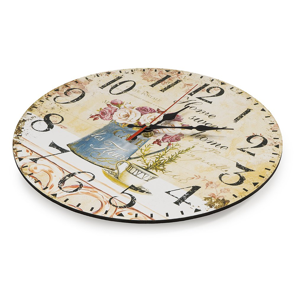 Amazon.com: LOHAS Home 12 Inch Silent Vintage Design Wooden Round Wall Clock, Vintage Arabic Numerals Design Rustic Country Tuscan Style Wooden Decorative ...