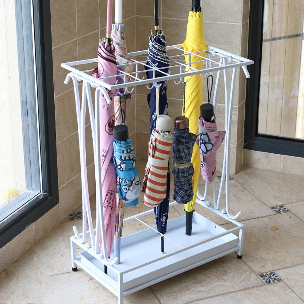 Umbrella Stands WSSF With Drip Tray/16 Hooks Iron Art Floor-standing Rain Gear Umbrella Storage Holder Rack Hotel Lobby Household Entrance Umbrella Shelf,442460cm (Color : White)