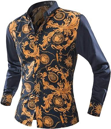 Sencillo Vida Camisas de Hombre de Vestir Tallas Grandes Camisas de Hombre Estampadas Manga Larga Delgada Slim Fit Camisa Hombres Casual Formales Clásico Cuello de Solapa con Botones: Amazon.es: Ropa y accesorios