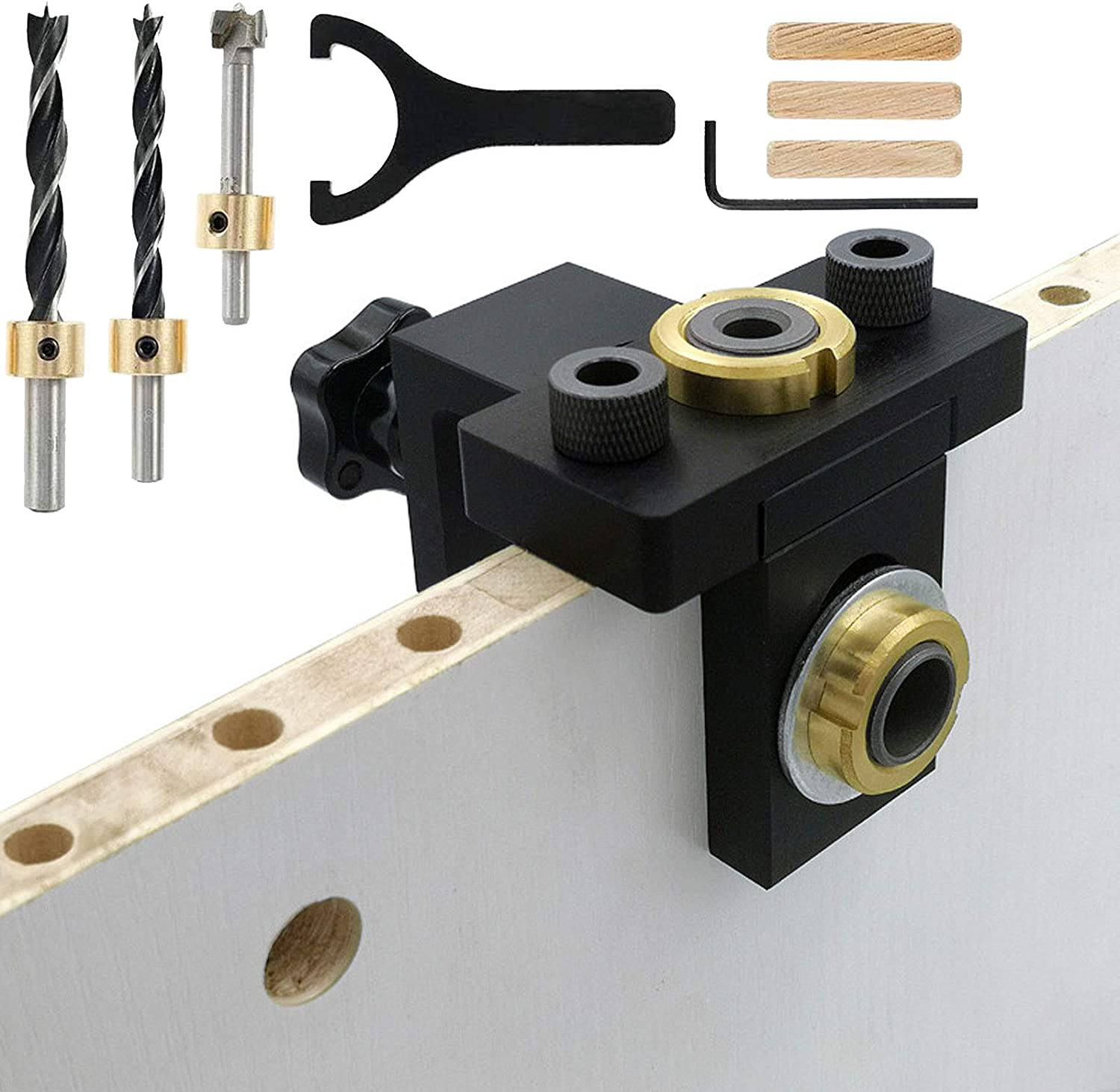 3 in 1 Adjustable Woodworking Doweling Jig with 8//10mm Hole Drill Guide Self Centering Doweling Positioning Jig with Angle Guide Bit for Drilling Guide Locator Puncher Pocket Hole Jig