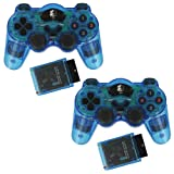 ZedLabz wireless RF double shock vibration gamepad controller for Sony Playstation 2 PS2 & PS1 - Twin pack - Blue