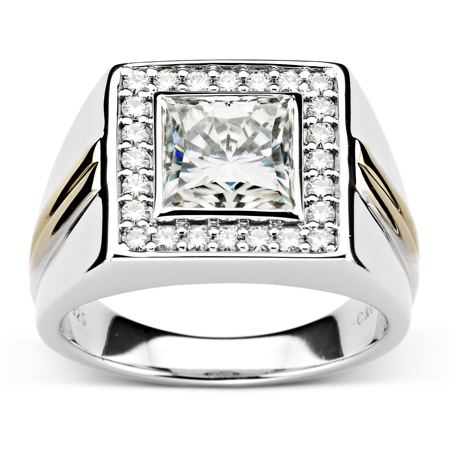 Forever Classic Mens 8.0mm Square Cut Moissanite Ring-size 12, 3.58cttw DEW By Charles & Colvard
