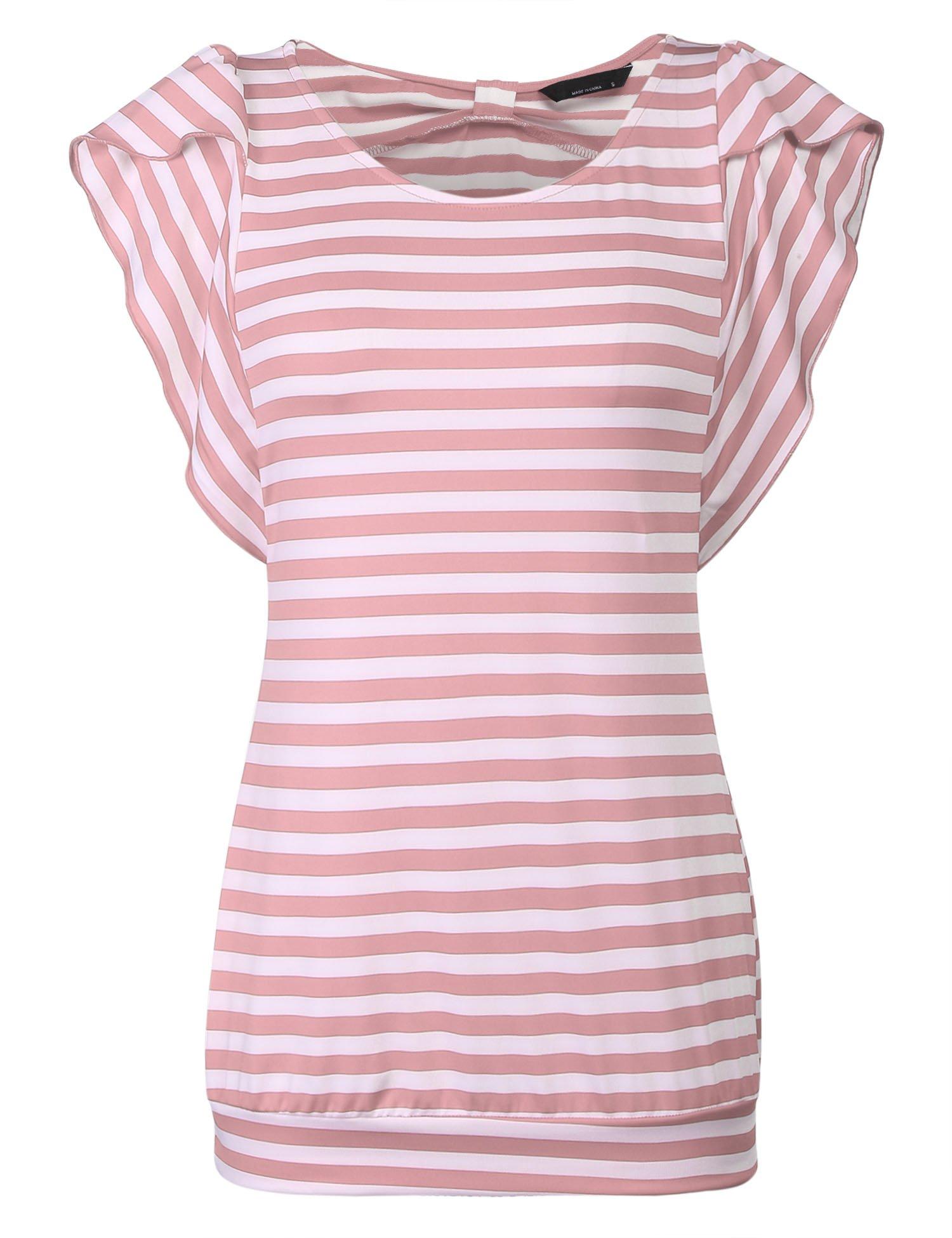 Hersife Womens Stripy Top Short Sleeve Tunics Striped Banded Bottom Shirts Pink
