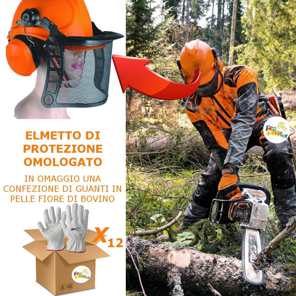 Casco Protettivo Kit con Visiera e Cuffie Elmetto Boscaiolo Forestale OMOLOGATO con Guanti Antitaglio 10x Guanti Nylon//Nitrile