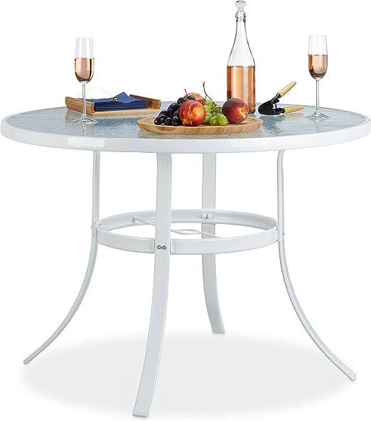 Relaxdays - Mesa Redonda de Cristal Struk para jardín con Agujero para sombrilla, 102 cm, Mesa de Comedor para terraza, bistró, 4 plazas, Impermeable, Color Blanco: Amazon.es: Jardín