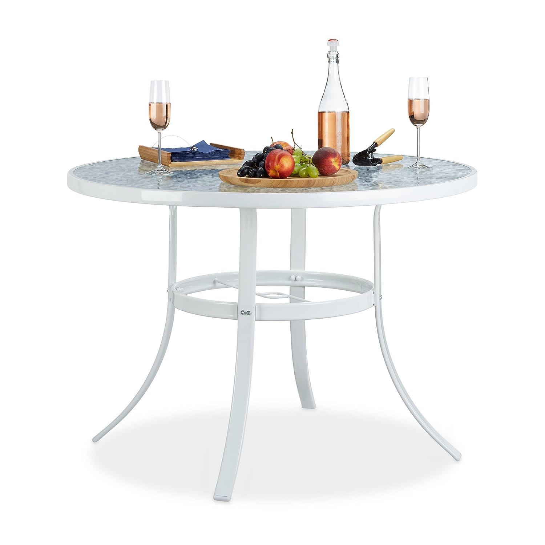 Relaxdays Struk Tavolo da Giardino, Bianco, 102x102x71 cm Relaxdays GmbH 10020936