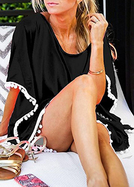 Garsumiss Damen Strandponcho Sommer Kaftan Strandkleid Bikini Badeanzug Cover Up