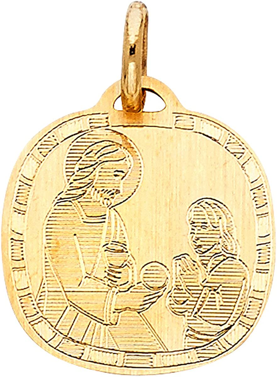 TGDJ 14k Yellow Gold Religious Double Side Pendant Height 15 MM Width 15 MM//Avg Weight 1.9 Grams