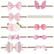 Baby Girl Nylon Headbands Newborn Infant Toddler Hairbands and Bows Child Hair Accessories (zmpspink-10pcs)