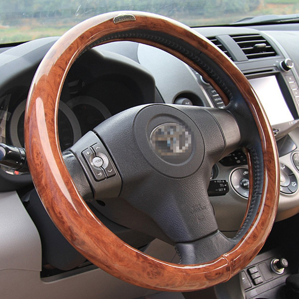 Orange Moyishi Top Leather Steering Wheel Cover Universal Fit Soft Breathable Steering Wheel Wrap