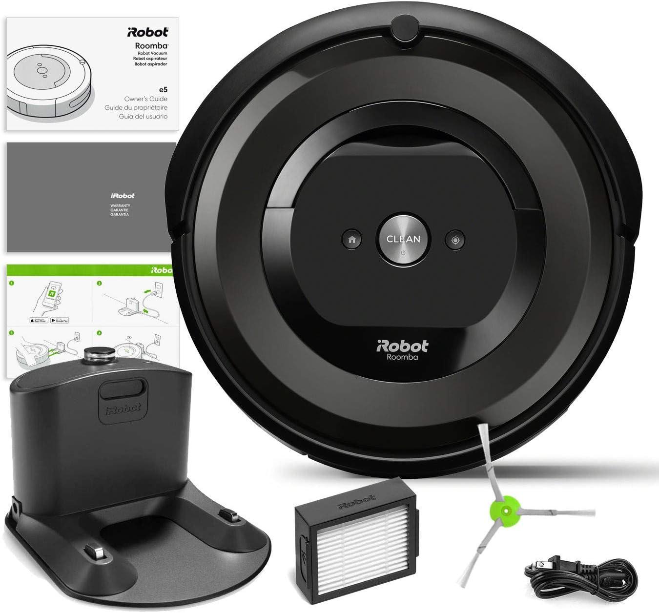 iRobot Roomba e5 (5150) Robot aspiradora Bundle Wi-Fi conectado, compatible con Alexa, ideal para pelo de mascotas, alfombras, duro, auto carga (+1 cepillo extra de barrido, 1 filtro extra): Amazon.es: Hogar