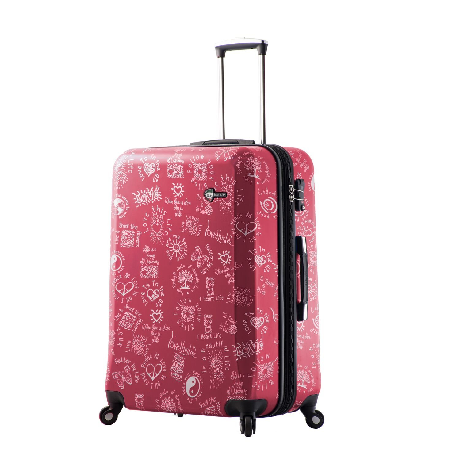 Mia Toro M1089-28in-Red Love This Life-Medallions Hardside 28 Inch Spinner, Red