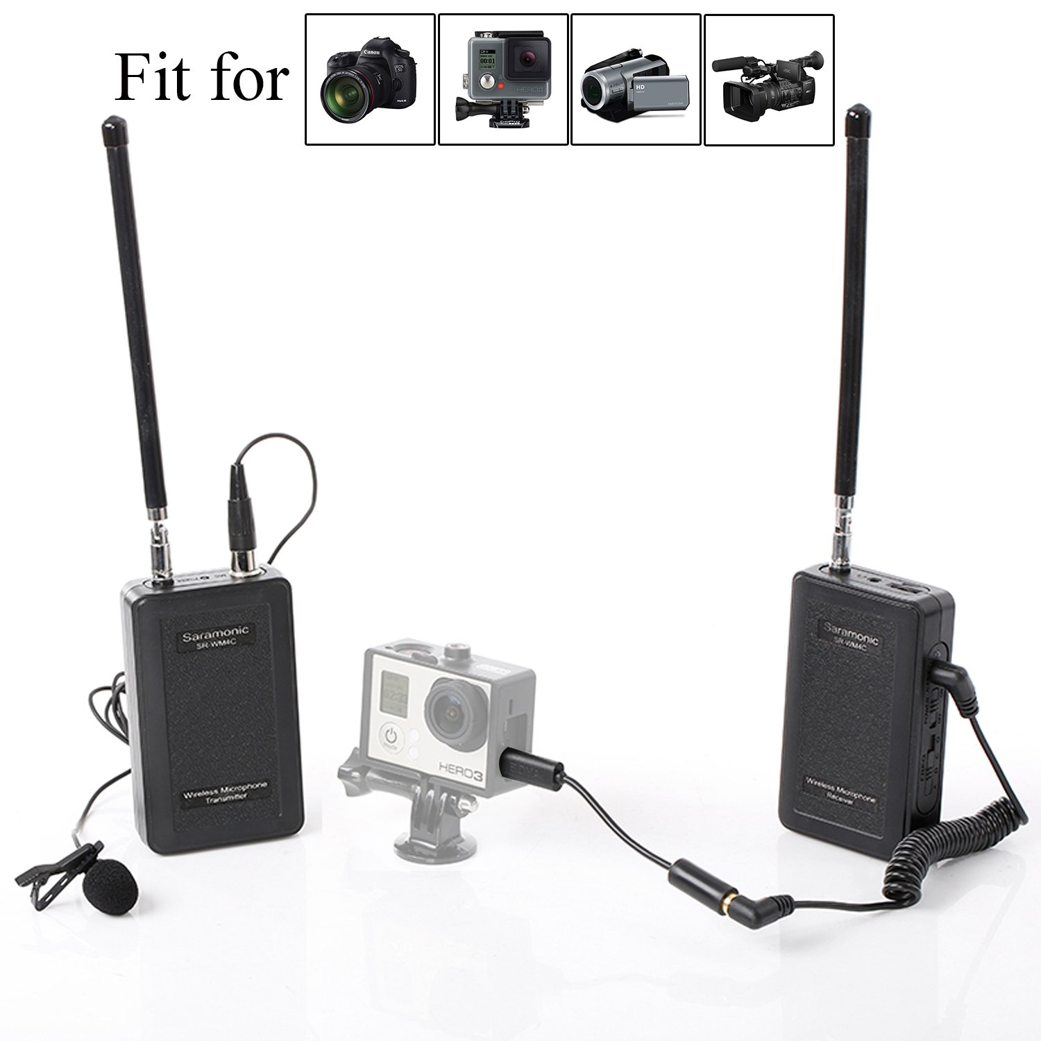 Saramonic SR-WM4C Camera Wireless Lavalier Microphone System for Canon 6D 600D 5D2 5D3 Nikon D800 Sony DV DSLR Camcorders GoPro Hero 4 3 3+ SR-WM4C-G_12
