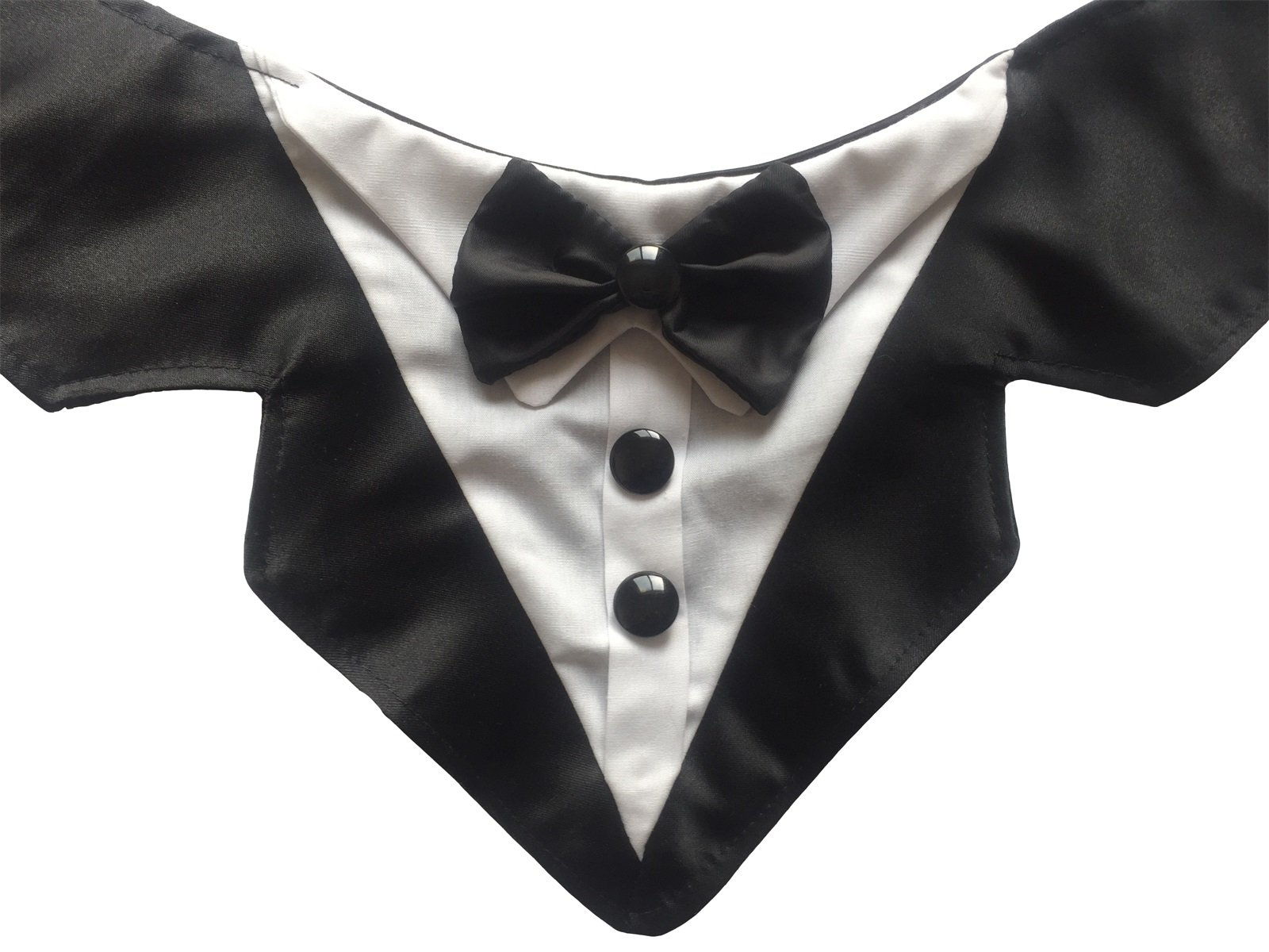 Vedem Formal Dog Tuxedo Bandana with Bow Tie Adjustable Pet Satin Triangle Bibs Scarf for Wedding, Party and Birthday (Black)
