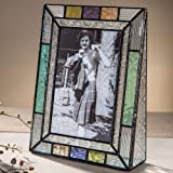 J Devlin Pic 372-46V Multi Colored Stained Glass 4x6 Picture Frame Blue Peach Purple Table Top Photo Frame Keepsake Gift Home Decor