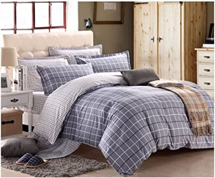 Swanson Beddings Grey Grid 3 Piece 100% Cotton Bedding Set: Duvet Cover And