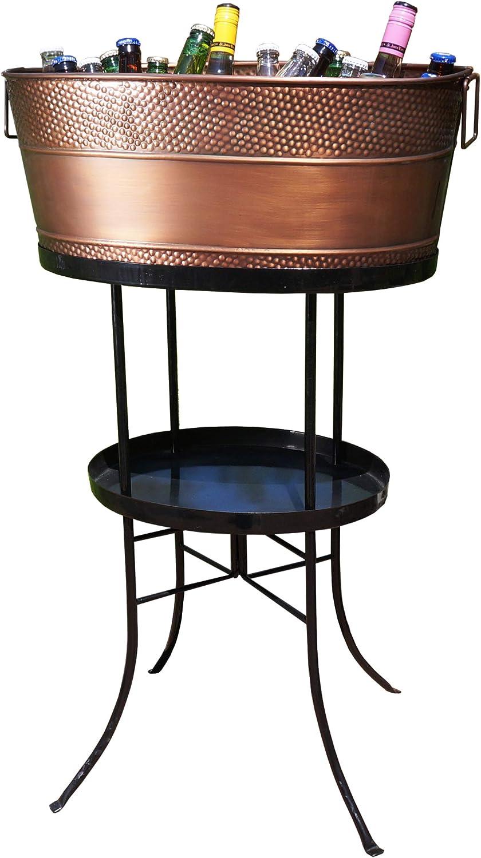 BREKX Copper Finish Aspen Hammered Galvanized Beverage Tub with Stand - 25 Quart