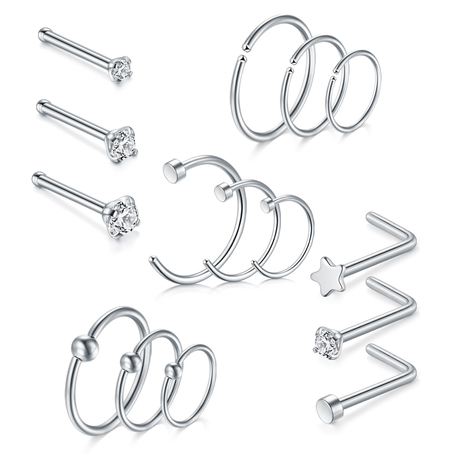QWALIT 20G Nose Rings Hoop Stainless Steel L Shaped Nose Rings Studs CZ Inlaid Bone Pin Straight Nose Piercing Jewelry 15pcs