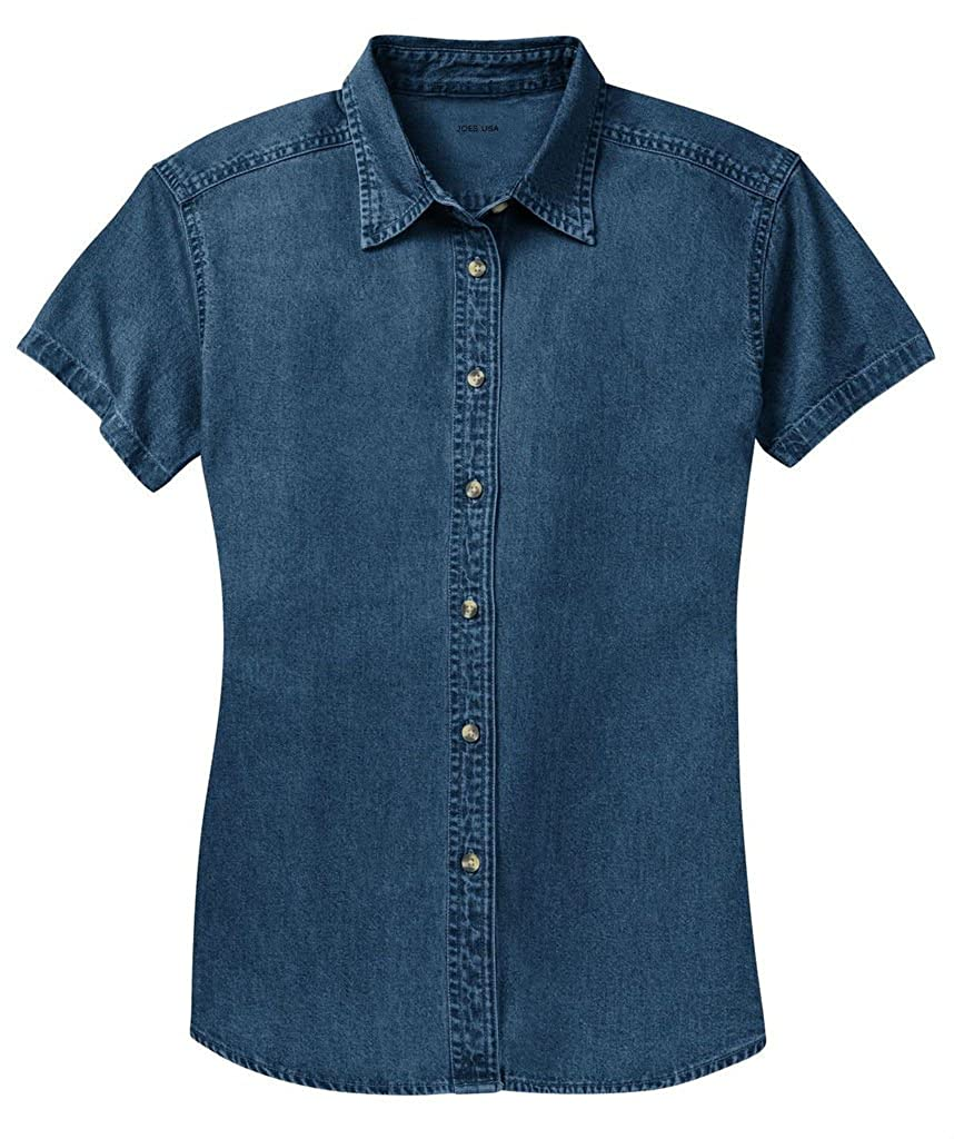 Rosie the Riveter Costume & Outfit Ideas Ladies Short Sleeve Value Denim Shirts in Sizes XS-4XL $30.99 AT vintagedancer.com