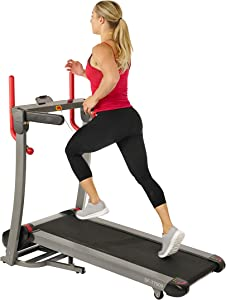 Sunny Health & Fitness Folding Electric Treadmill with Auto Incline, LCD and Pulse Monitor, Bluetooth Speakers, Body Fat Calculator and USB Charging - SF-T7909