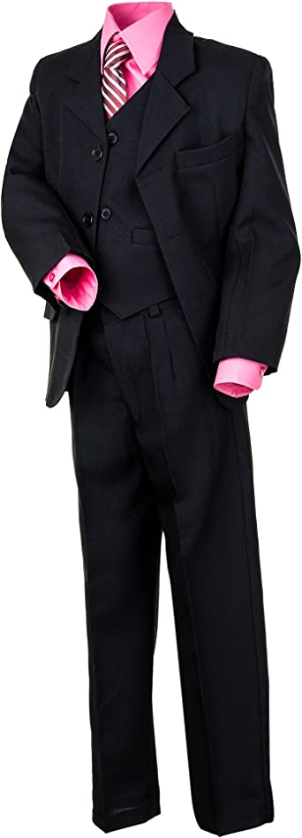 6 piezas negro joven Traje con 2 camisas, blanco y turquesa rosa o rosa