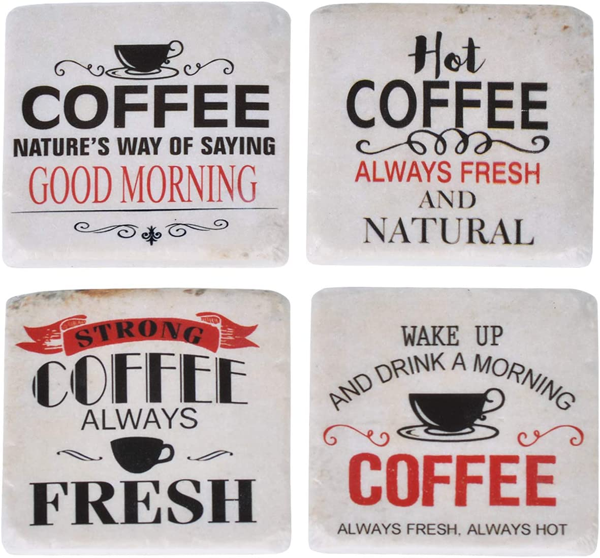Nikky Home Funny Novelty Resin Coffee Drink Coasters 4 X 4 Set Of 4 Home Kitchen Home Decor