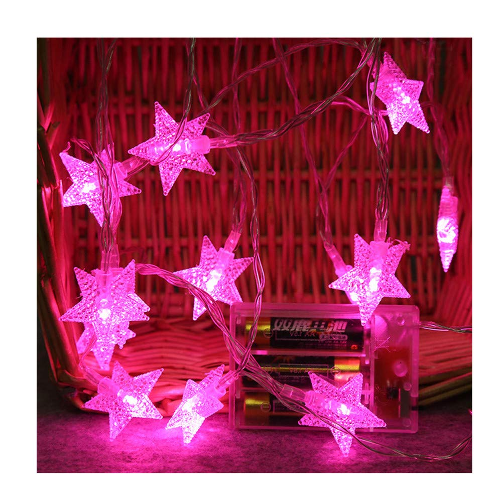 Kanzd 2M 10 LED Crystal Clear Star Fairy String Light Wedding Party Outdoor Decor Lamp (Pink)