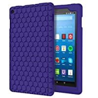 MoKo Hülle für All-New Amazon Fire HD 8 Tablet (7th & 8th Gen – 2017& 2018 Modell) - [Honey Comb Series] Lightweight Silikon Case Stoßfest [Kids Kinderfreundlich] Schutzhülle Fire HD 8, Marineblau