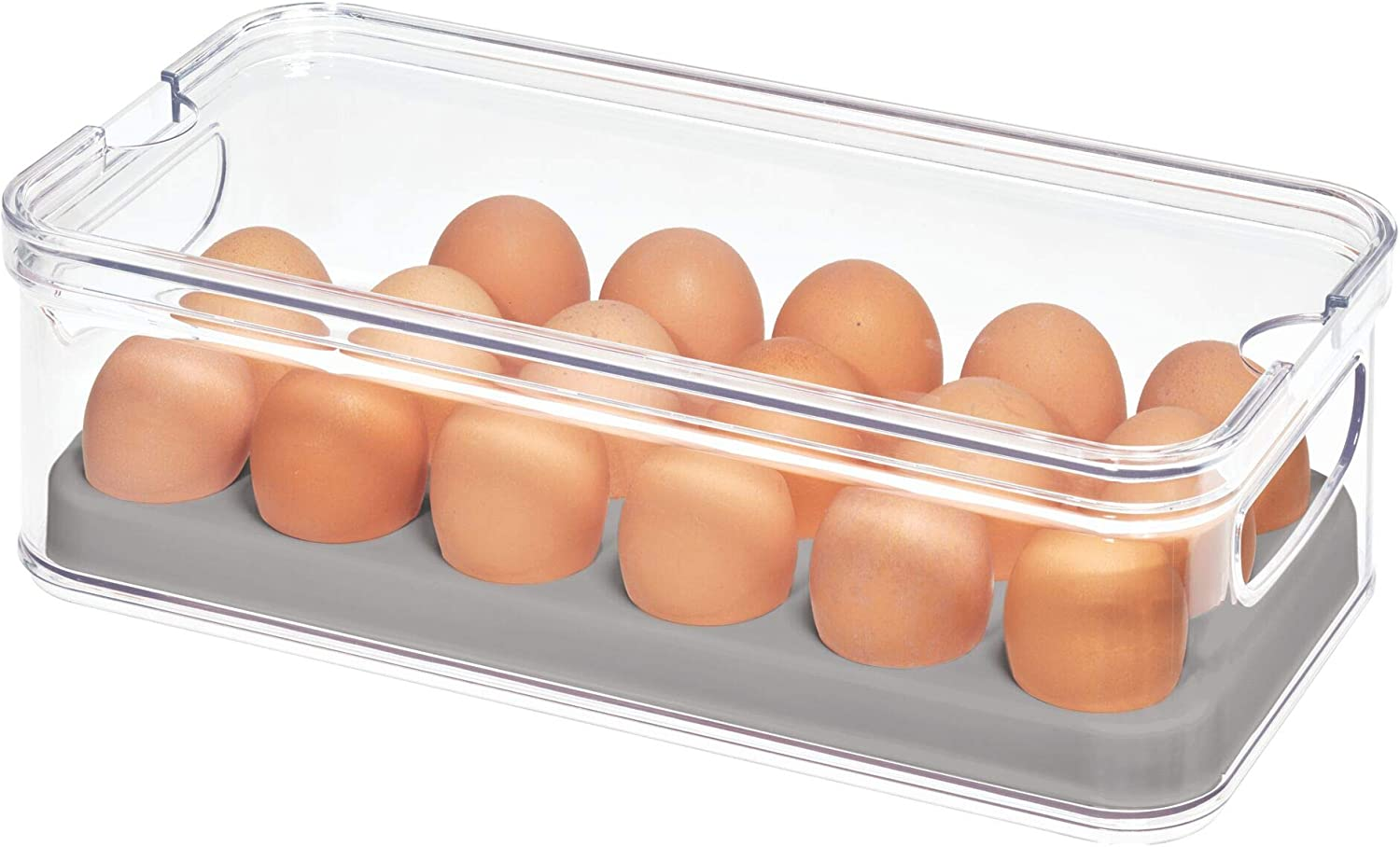 "iDesign Crisp Plastic Refrigerator and Pantry Egg Bin, Modular Stacking Food Storage Box for Freezer, Fridge, Holds up to 18 Eggs, BPA Free, 12.72"" x 6.32"" x 3.88"", Clear and Gray"