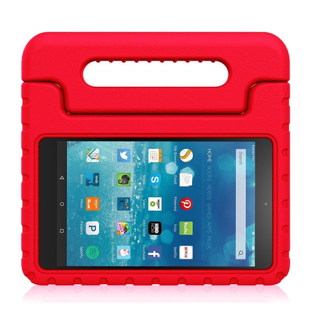 Dininis All-New Fire HD 8 2018 Tablet Case – Super Light Weight Shock Proof Handle Kid-Proof Cover Kids Case for All-New Fire HD 8 Inch Tablet (8th/7th/6th Generation, 2018/2017/2016 Release) (Hot Red)