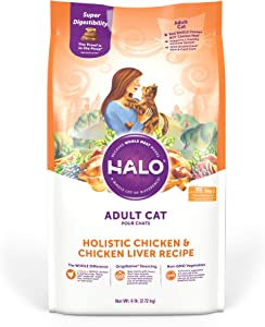 Halo Natural Dry Cat Food - Premium and Holistic Real Whole Meat - Chicken & Chicken Liver Recipe - 6 Pound Bag - Sustainably Sourced Adult Cat Food - Non-GMO, Highly Digestible, and Made in the USA