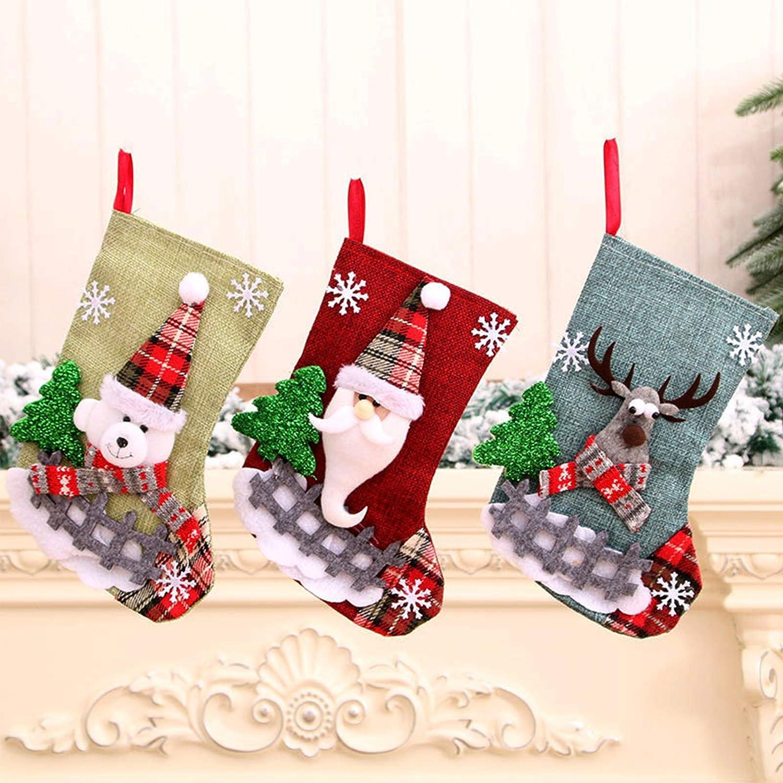 23*15cm 3PZ Medias de Navidad Bolsa de Regalo Calcetines de Navidad Regalode Decoraci/ón Christmas Stocking Xmas Medias de Regalo para el /árbol de Navidad Chimenea Decoraci/ón Colgante Calcet/ín