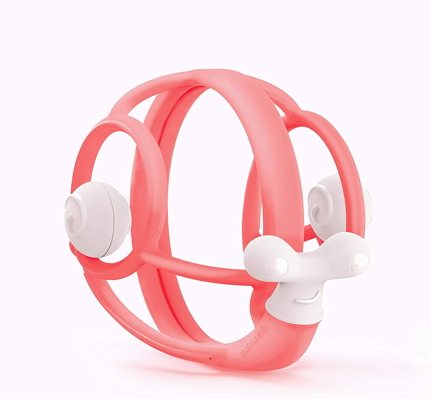 Mombella Pink Silicone Safe Teething Rattle for 3m+ Good for Baby Hands to Clutch and Learn Hand-Brain co-Operation