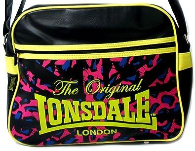 6a8eb82185d Large Black Lonsdale Despatch Bag With Large Shoulder Strap - Black Lime Multi  -