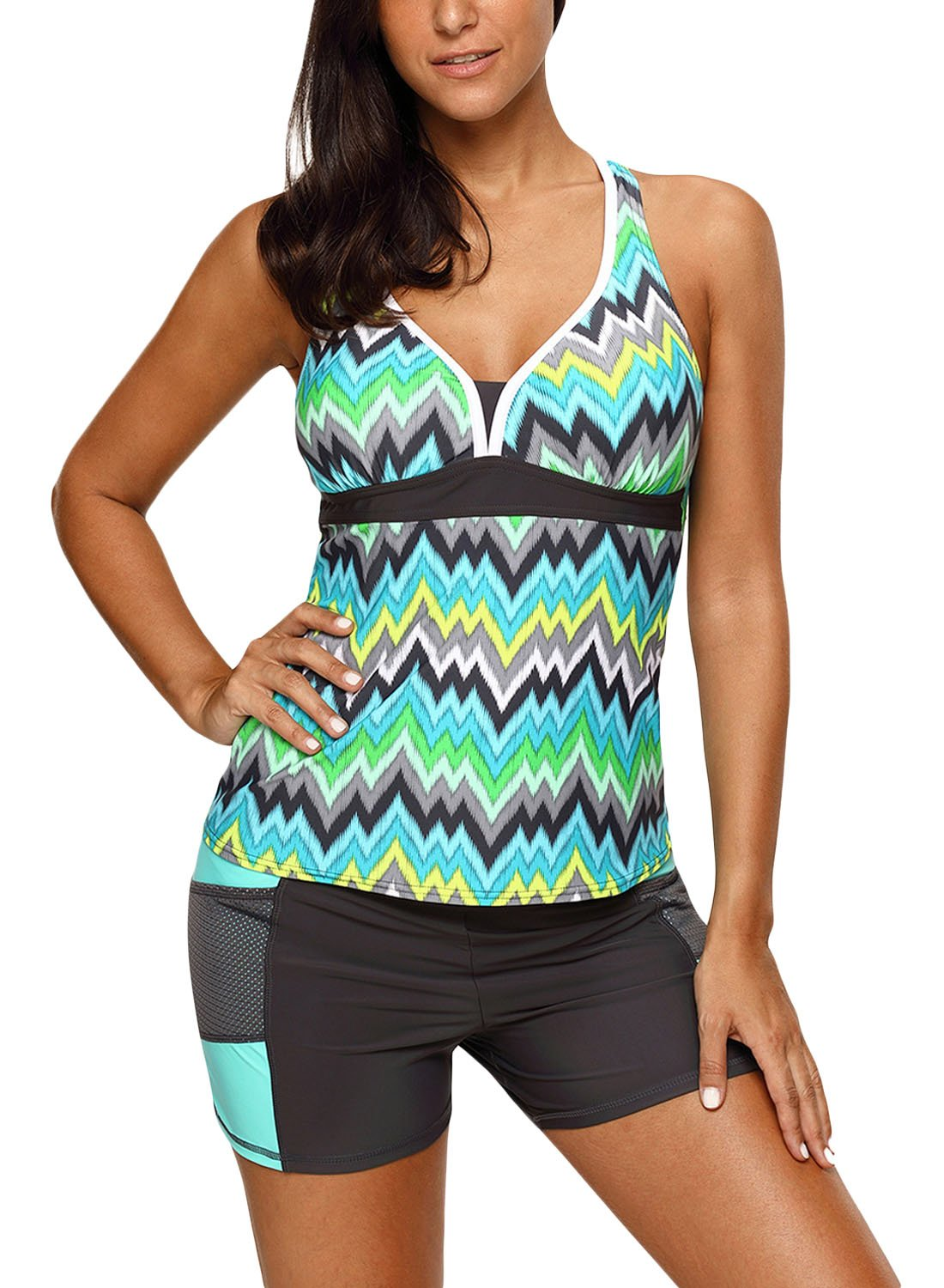 HOTAPEI Women's Racerback Tankini Set with Boyshort Modest Sexy Tankini Swimsuits for Women Ladies Two Piece Bathing Suit Green Tone Multicolor Striped US 4 6