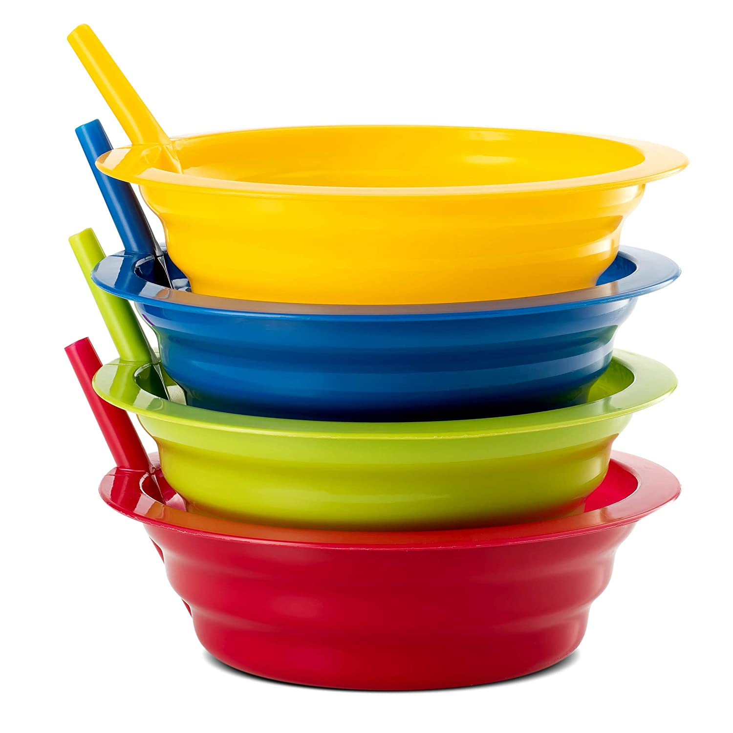 Plaskidy Cereal Bowls with Straws, Set of 4 Kids Bowls with Built-in Straws, 22 OZ, Sippy Bowls are Dishwasher/Microwave Safe, Bright Colors, BPA Free, Great Kids Soup/Cereal Bowls