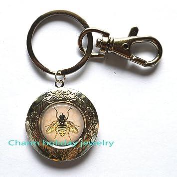 Miel de abeja Locket llavero, miel peine llavero con abeja ...