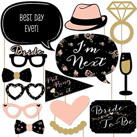 d1bff0ea7 Amazon.com  Big Dot of Happiness Best Day Ever - Bridal Shower   Wedding  Shower Photo Booth Props Kit - 20 Count  Toys   Games