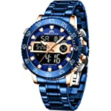 MEGALITH Men Watch Waterproof Stainless Steel Led Analog Digital Watches for Men Male Day Date Stopwatch Heavy Metal Alarm Sp