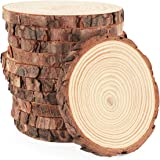 Wood Slices 16Pcs 3.5''-4'' Unfinished Wood Rounds Natural Thicken Slab with Bark for Coasters Centerpieces Wedding…