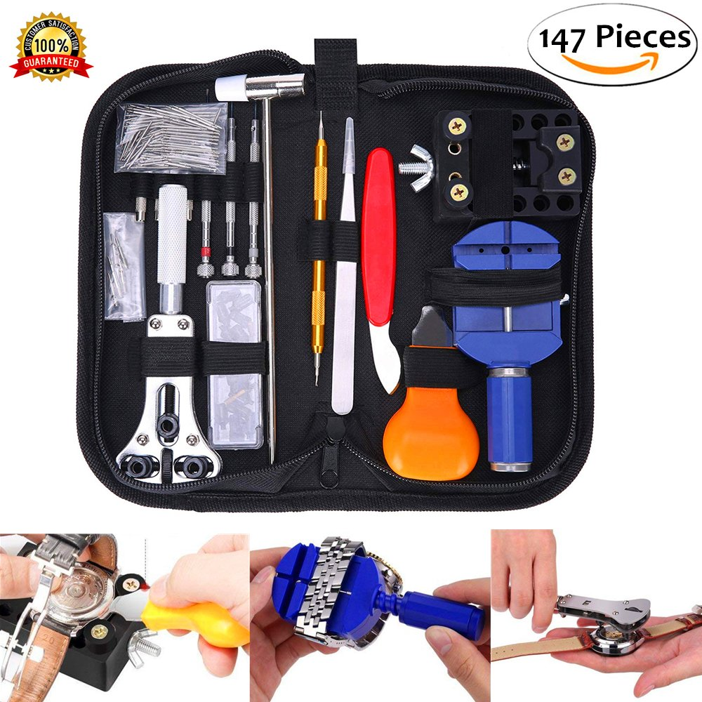 Watch Jewelry Repair Tool Kit, TFSeven Professional 147Pcs Repair Tool Set with Back Opener Band Pin Strap Link Remover with Hammer Screwdrivers Wrench Cutter Spring Bar for Men Women Kids Wristwatch