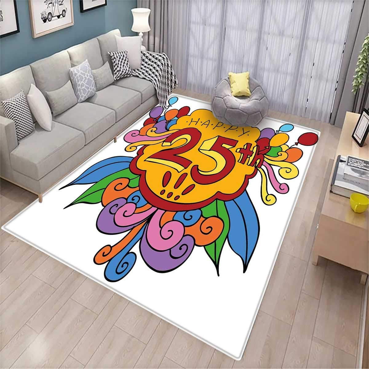 25th Birthday Door Mats Area Rug Cartoon Styled Composition with Floral Details Swirls and Balloons Print Bath Mat Non Slip Multicolor