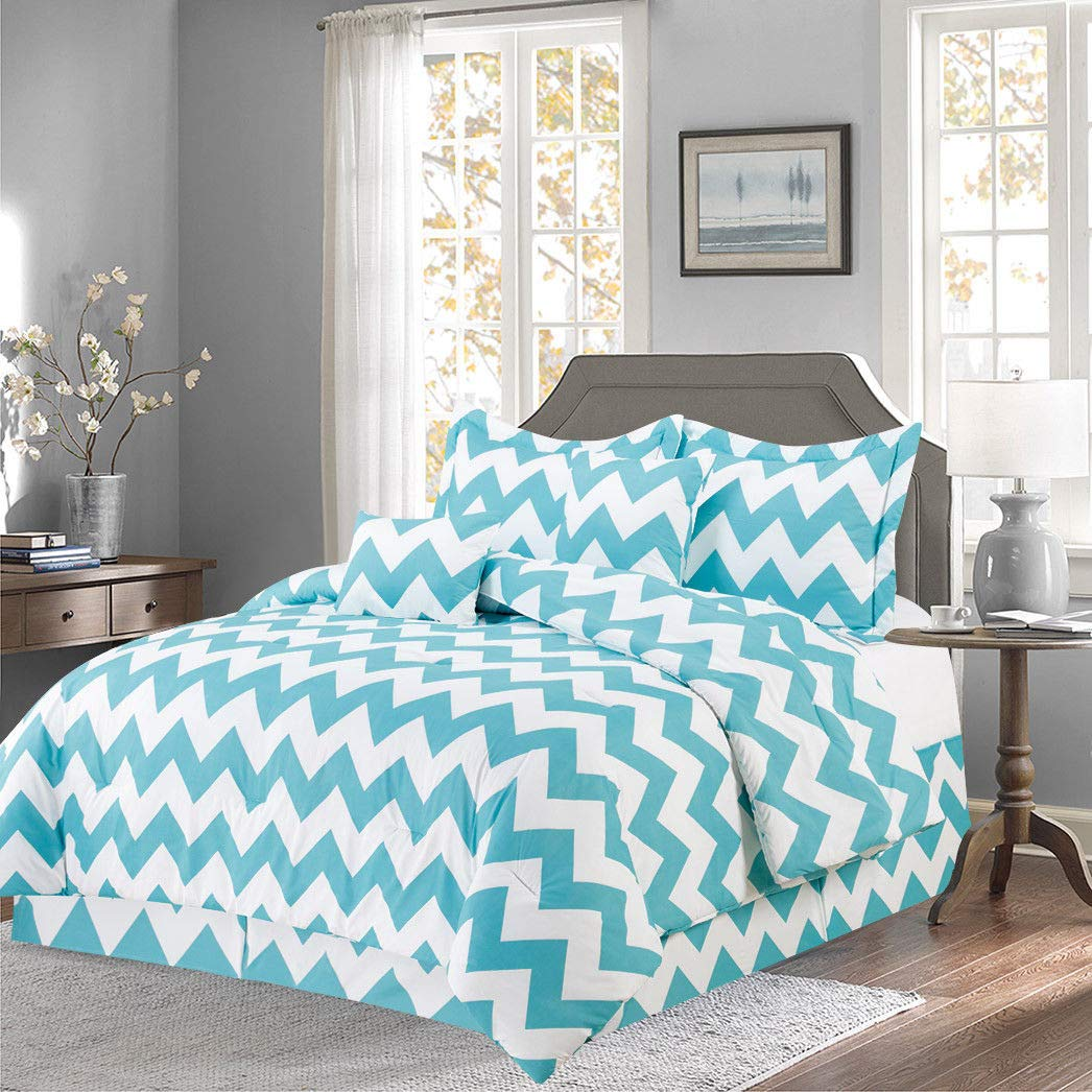 Empire Home Annissa Collection Luxurious 10-Piece Geometric Soft Comforter Set & Bed Sheets Limited-Time Sale!! (Turquoise Chevron, Queen Size)
