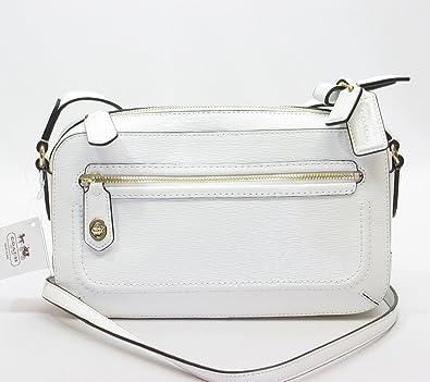 f1662be4ee ... low price coach textured patent leather flight crossbody bag 25075  arctic white handbags amazon cc042 d2ff1