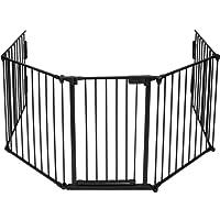 TecTake Barrière de sécurité grille de protection pour enfants pour cheminée et escaliers longeur totale 3 mètres