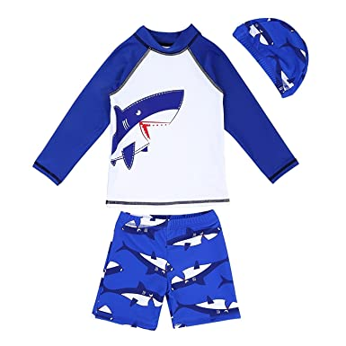43b55577b7011 Baby Toddler Boys Two Piece Rash Guard Swimsuits Kids Long Sleeve Sunsuit  Swimwear Sets Bathing Suit