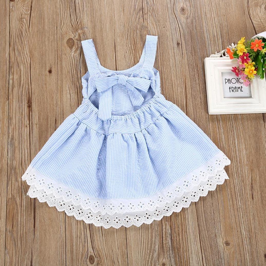 8ae35a3fb K-youth Vestido Niña, Lindo Rayas Vestido para Niñas Sin Mangas Casual  Princesa Vestir Infantil de Fiesta Verano
